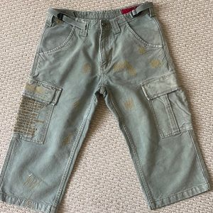 Tough Jeansmith Cargo Jean Shorts-Yellow Stitching
